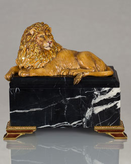 Jay Strongwater Lion on Marble Box