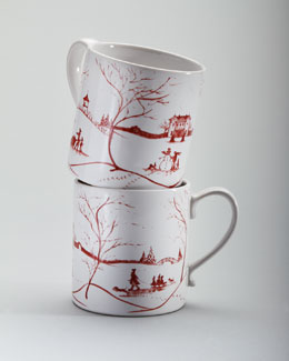 "Juliska Two Ruby ""Winter Holiday"" Mugs"