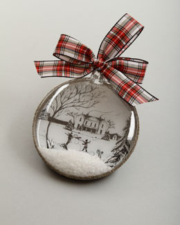 "Juliska Country Estate Ruby ""Winter Main House"" Christmas Ornament"