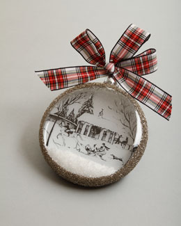 "Juliska Country Estate Ruby ""Winter Stable"" Christmas Ornament"