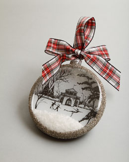 "Juliska Country Estate Ruby ""Winter Boat House"" Christmas Ornament"