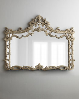Ornate Horizontal Whitewash Mirror