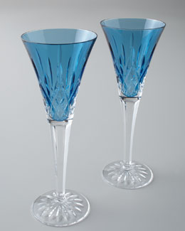 "Waterford Two ""Lismore Jewels"" Aquamarine Toasting Flutes"