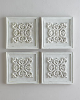 Antiqued-White Square Panel