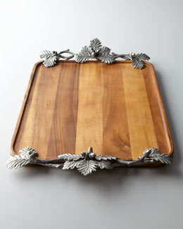 "Vagabond House ""Acorn  & Oak Leaf"" Wood Tray"