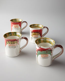 "Vietri Four Assorted ""Old St. Nick"" Mugs"