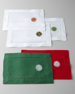 "SFERRA Four ""Holiday Medallion"" Cocktail Napkins"