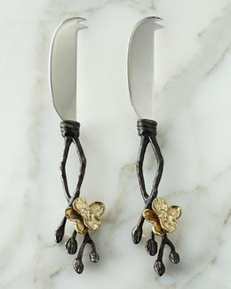 "Michael Aram Two ""Gold Orchid"" Cheese Knives"