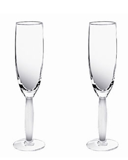 "Lalique Two ""Diamant"" Flutes"