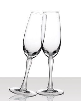 "Lalique Two ""Royal"" Flutes"
