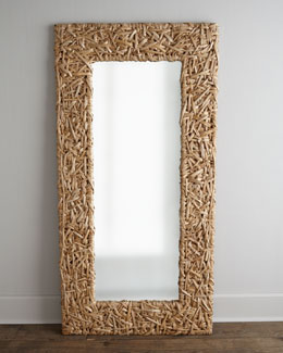 Seagrass Random Weave Floor Mirror