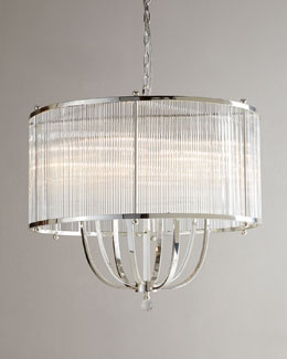 John-Richard Collection Crystal-Rod Drum Chandelier