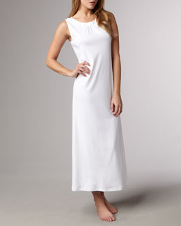 Hanro Jasmine Long Mercerized Tank Gown, White