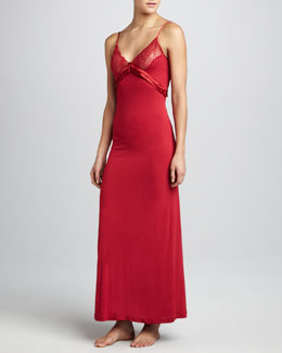 La Perla Long Satin-Trim Gown