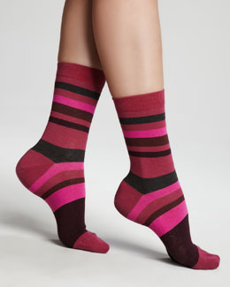 Falke Striped Ankle Socks, Pink