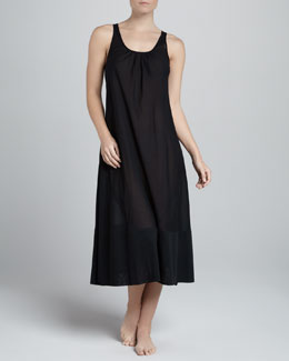 Donna Karan Cotton Batiste Long Gown, Black