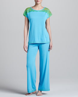 Josie Lace-Shoulder Pajamas, Azure Blue/Green