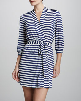 Eberjey Maritime Striped Jersey Robe