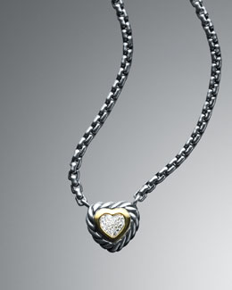 David Yurman Pave Silver Ice Heart Necklace