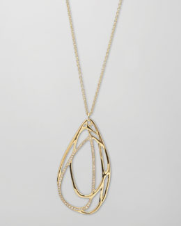 Ippolita Drizzle 18k Gold Pave Diamond Teardrop Necklace