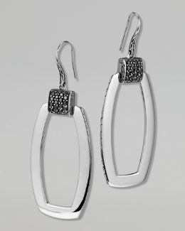 John Hardy Classic Chain Silver Lava Black Sapphire Earrings