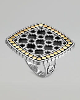 John Hardy Dot Morocco Gold & Silver Black Onyx Square Ring