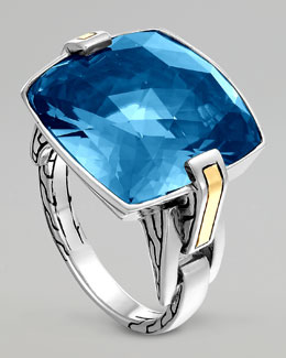 John Hardy Classic Chain Silver London Blue Topaz Ring