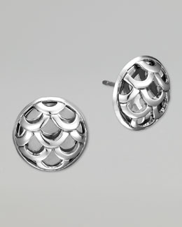 John Hardy Naga Silver Round Stud Earrings
