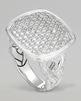 John Hardy Classic Chain Small Pave Diamond Cushion Woven Ring