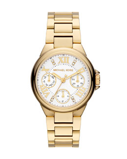 Michael Kors  Mini Golden Stainless Steel Camille Chronograph Glitz Watch