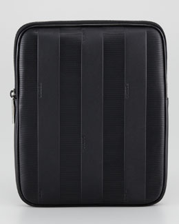 Fendi Pequin Striped Leather iPad Case