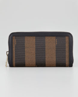 Fendi Zip-Around Striped Canvas Wallet, Tobacco/Brown
