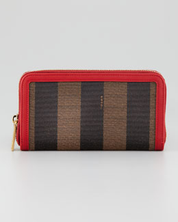 Fendi Zip-Around Striped Canvas Wallet, Tobacco/Red