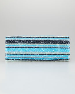 Moyna Long Stripe-Beaded Clutch Bag, Turquoise