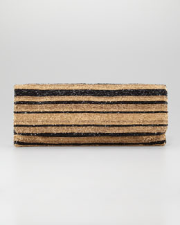 Moyna Long Stripe-Beaded Clutch Bag, Golden