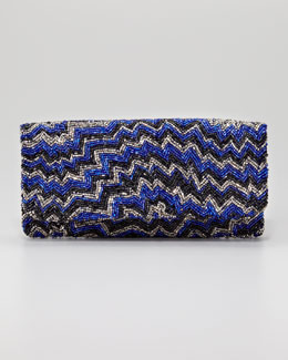 Moyna Chevron Beaded Clutch Bag, Royal Blue/Pewter