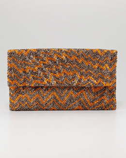 Moyna Chevron Beaded Clutch Bag, Orange/Moss