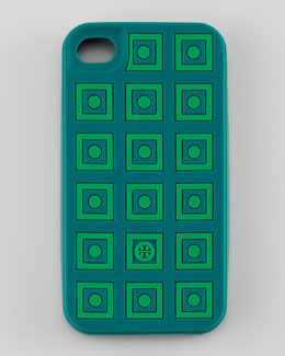 Tory Burch Square Dots Silicone iPhone 4 Case, Malachite/Green