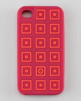 Tory Burch Square Dots Silicone iPhone 4 Case, Winesap Red/Apple