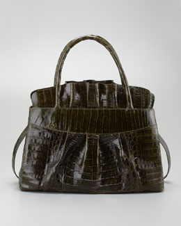 Nancy Gonzalez Ruffled Crocodile Medium Tote Bag, Olive