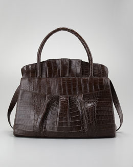 Nancy Gonzalez Ruffled Crocodile Medium Tote Bag, Chocolate