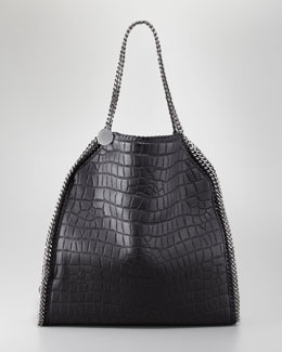 Stella McCartney Falabella Crocodile-Embossed Large Tote Bag, Black