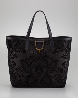 Gucci Damask Leather Stirrup Tote Bag