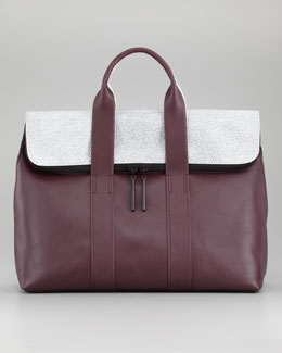 3.1 Phillip Lim 31 Hour Fold-Over Tote Bag, Bordeaux/Black/White