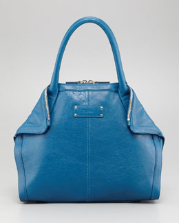 Alexander McQueen De-Manta Leather Mini Tote Bag, Prussian Blue