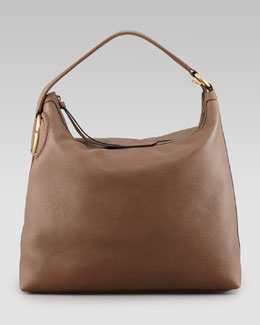 Gucci Large Twill Leather Hobo Bag, Medium Brown