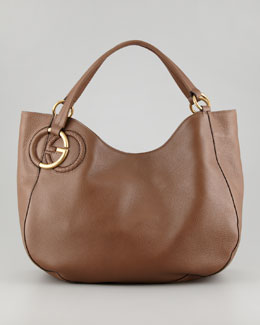 Gucci Twill Leather Large Shoulder Bag, Medium Brown