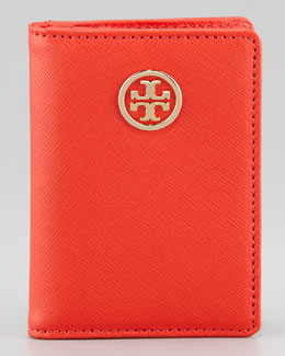 Tory Burch Robinson Passport Holder, Red/Clay Beige