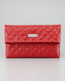 Marc Jacobs Eugenia Large Quilted Lambskin Clutch Bag, Red