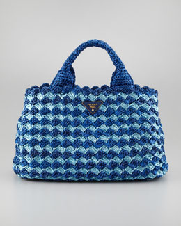 Prada Bicolor Crocheted Raffia Medium Tote Bag